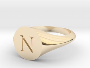 Letter N - Signet Ring Size 6 in 14k Gold Plated