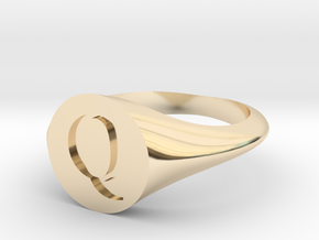 Letter Q - Signet Ring Size 6 in 14k Gold Plated