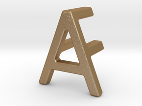 AF FA - Two way letter pendant in Matte Gold Steel