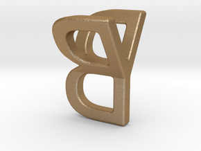 Two way letter pendant - BY YB in Matte Gold Steel
