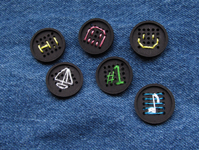 "1"" embroidery buttons (dozen) in Black Strong & Flexible"