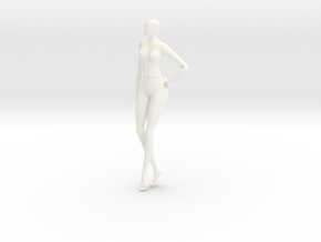 Female cartoon characters 003 scale in 12cm in White Strong & Flexible Polished