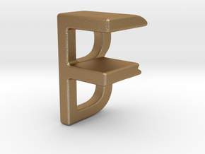 Two way letter pendant - BF FB in Matte Gold Steel