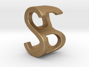 Two way letter pendant - BS SB in Matte Gold Steel