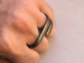 Double Ring in Polished Nickel Steel