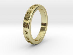 Ø16 mm - Ø0.630inch Ring  With Snowflake Motif in 18k Gold Plated
