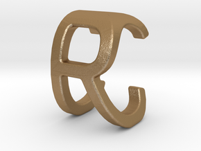 Two way letter pendant - CR RC in Matte Gold Steel
