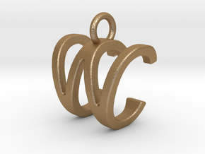 Two way letter pendant - CW WC in Matte Gold Steel
