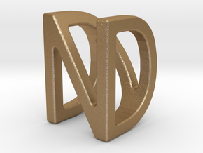 Two way letter pendant - DN ND in Matte Gold Steel
