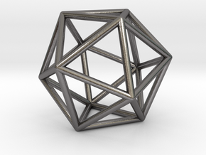 0026 Icosahedron E (5 cm) #002 in Polished Nickel Steel