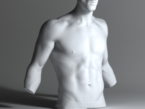 Man Body Part 001 scale in 4cm in White Strong & Flexible Polished
