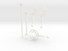 cyclone staff / blades bundle in White Strong & Flexible Polished