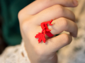 Maple Leaf Charm Ring (Size 6.5) in Red Strong & Flexible Polished