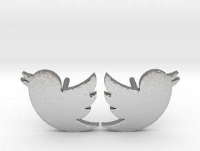 Twitter Studs in Raw Silver