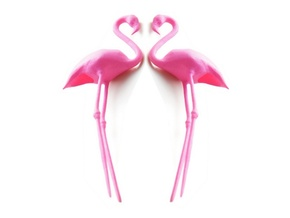 Flamingo Cake Topper 2X in Pink Strong & Flexible Polished