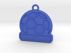 Football / Soccer Ball Keychain (solid) in Blue Strong & Flexible Polished