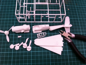 BF109G6 Messerschsmitt, 1/56 scale, 28mm wargames in White Strong & Flexible Polished