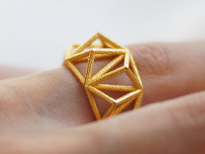 Cage Ring- size 7  in Matte Gold Steel