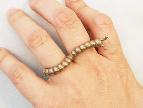 Caster the Curious Caterpillar Ring in Stainless Steel