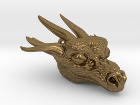 Dragon head pendant in Raw Bronze
