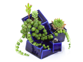 Cubite Planter in Gloss Cobalt Blue Porcelain