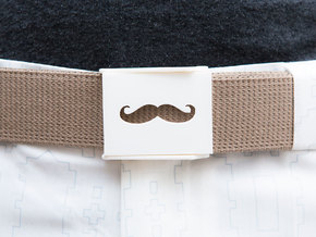 Mustache Belt Buckle in White Strong & Flexible