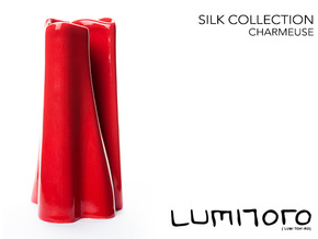Charmeuse Vase - Silk Collection in Gloss Red Porcelain