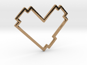 Pixel Heart Pendent - Diva Style - 1 INCH in Polished Brass