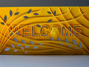 "3D Printed Welcome sign door decoration ""Owl tree"" in Yellow Strong & Flexible Polished"