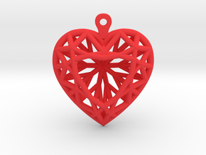 3D Printed Diamond Heart Cut Earrings  in Red Strong & Flexible Polished