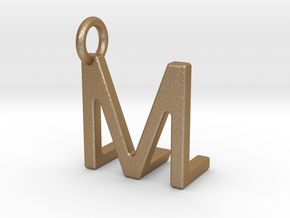 Two way letter pendant - LM ML in Matte Gold Steel
