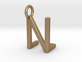 Two way letter pendant - LN NL in Matte Gold Steel