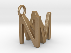 Two way letter pendant - MN NM in Matte Gold Steel