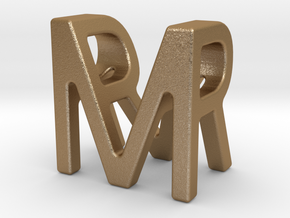 Two way letter pendant - MR RM in Matte Gold Steel