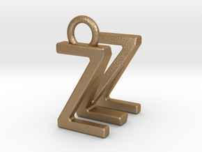 Two way letter pendant - MZ ZM in Matte Gold Steel