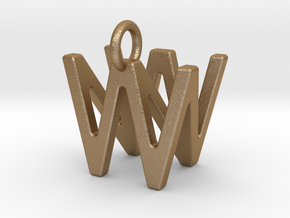 Two way letter pendant - NW WN in Matte Gold Steel