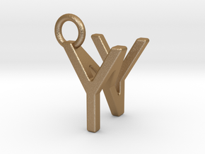 Two way letter pendant - NY YN in Matte Gold Steel