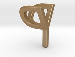 Two way letter pendant - PY YP in Matte Gold Steel