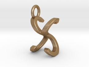 Two way letter pendant - SX XS in Matte Gold Steel