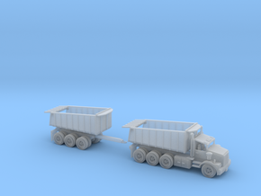 Dump Truck With Trailer Tri Axle N Scale in Frosted Ultra Detail