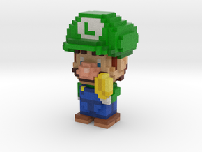 Super Plumber Green Bro Voxel Minifig in Full Color Sandstone