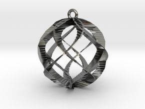 Spiral Sphere Ornament  in Premium Silver