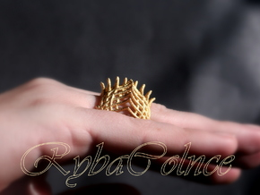 Ring The Iroquois\ knuckle / size 6 US    (16,5 mm in Matte Gold Steel