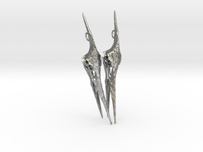 Pteranodon Skull Earring Pair in Raw Silver