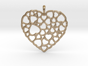 Heart of Hearts Pendant in Polished Gold Steel