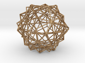 10 Cube Compound, Wireframe in Polished Brass