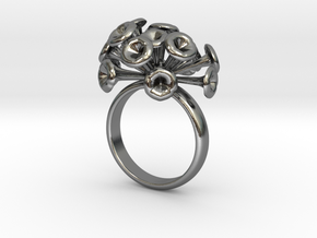 Discosphaera Ring  in Polished Silver
