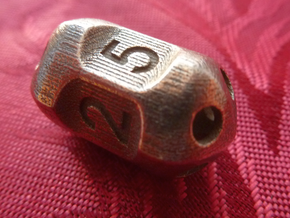 Five sided 'pepperpot' dice in Stainless Steel