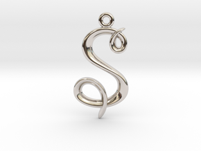 S Initial Charm in Rhodium Plated