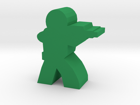Soldier Meeple, with Rifle in Green Strong & Flexible Polished
